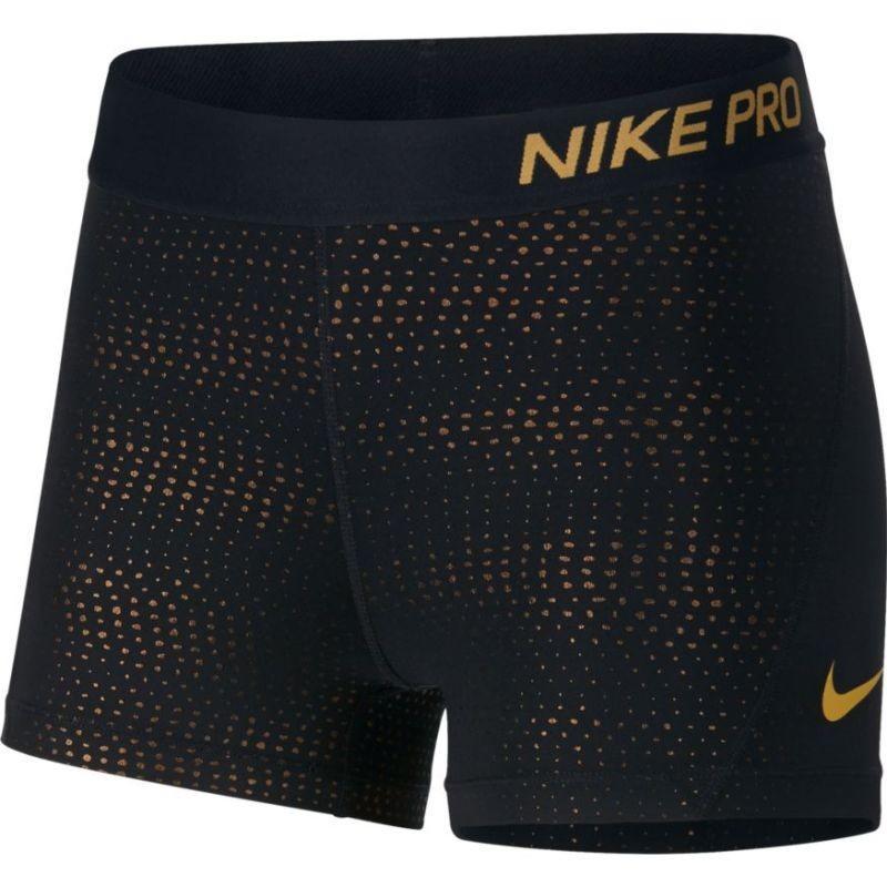 Теннисные шорты женские Nike Pro Short 3in Metallic Dots black/metallic gold