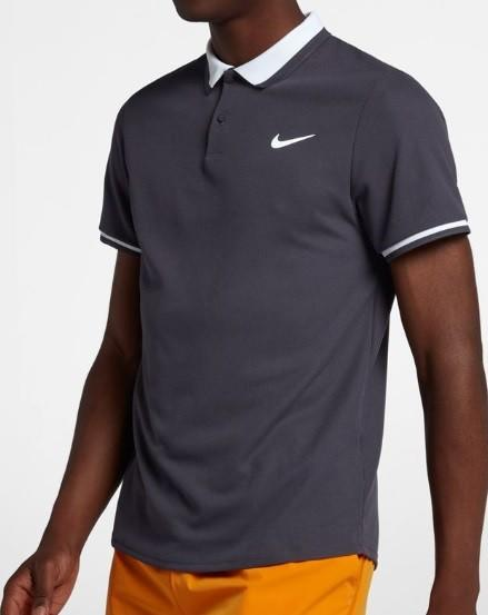Теннисная футболка мужская Nike Court Advantage Polo Classic gridiron/gridiron/white/white