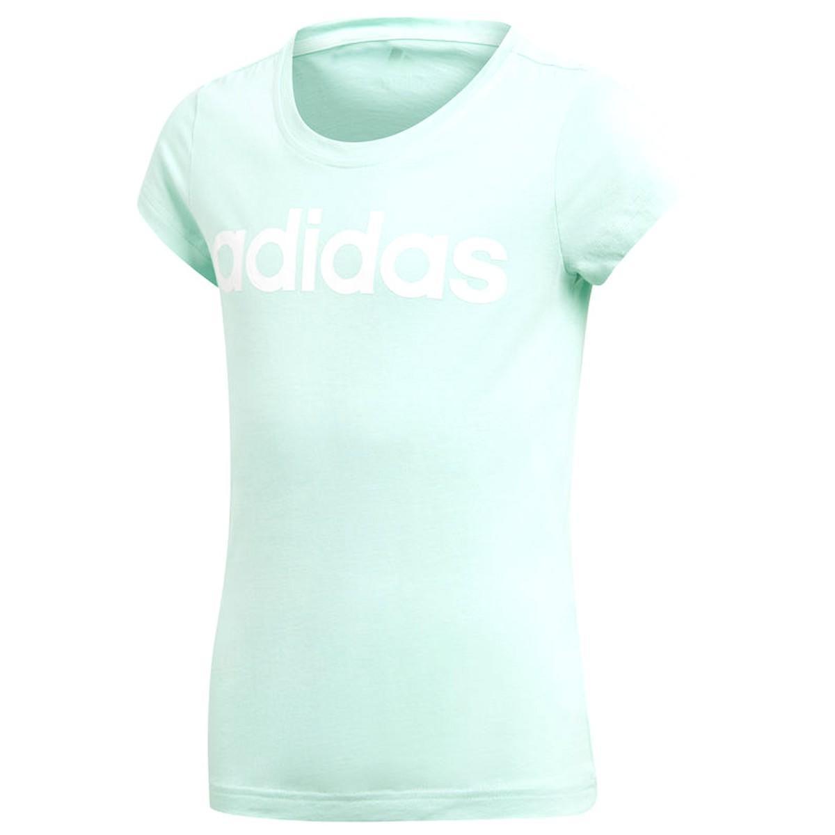 Теннисная футболка детская Adidas Training Linear T-Shirt clear mint/white