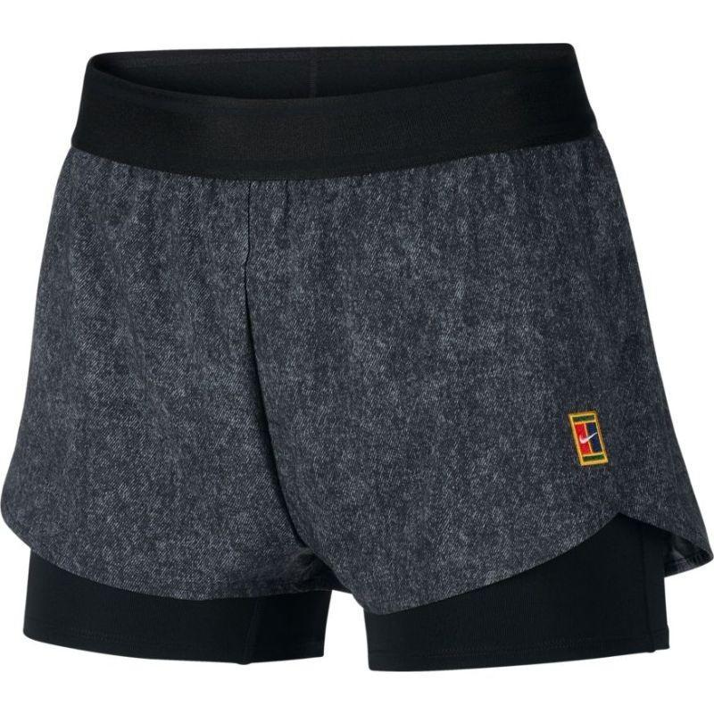 Теннисные шорты женские Nike Flex Short Printed MB NT black/white