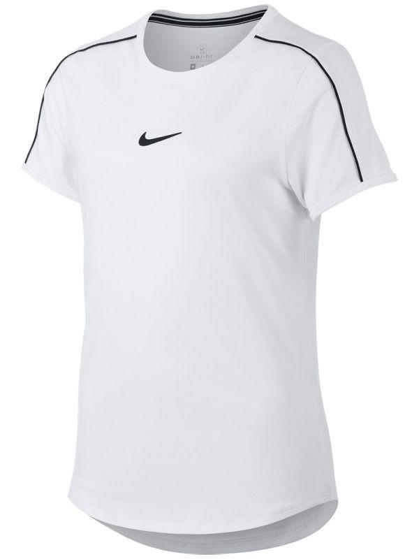 Теннисная футболка детская Nike Court G Dry Top white/black/black