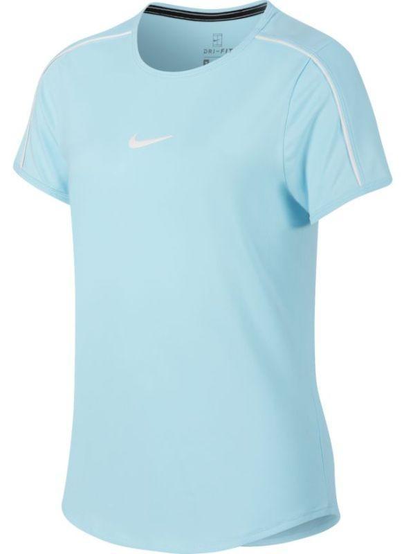 Теннисная футболка детская Nike Court G Dry Top topaz mist/white/white
