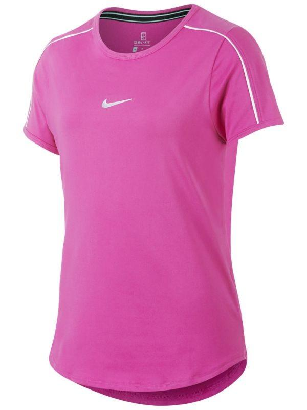Теннисная футболка детская Nike Court G Dry Top active fuchsia/white/white