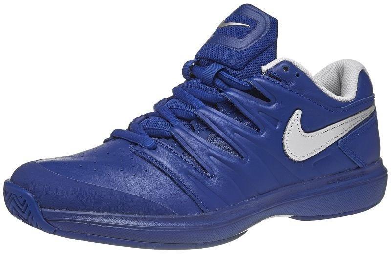 Теннисные кроссовки мужские Nike Air Zoom Prestige HC LTHR indigo force/metallic silver/indigo vibra