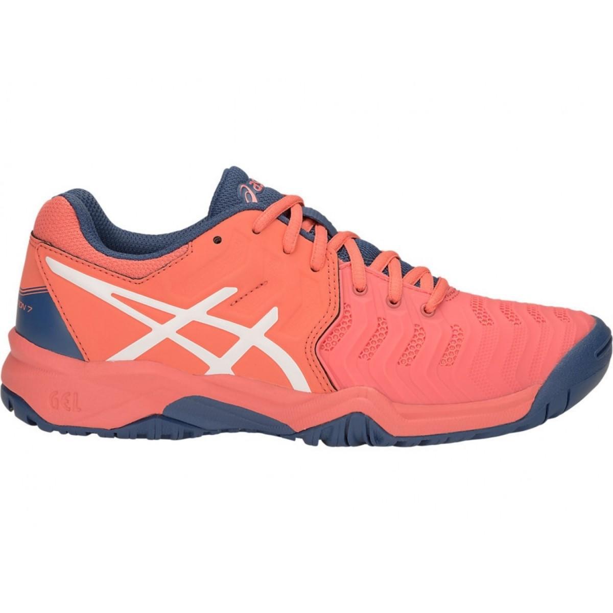 Детские теннисные кроссовки Asics Gel-Resolution 7 GS papaya/white