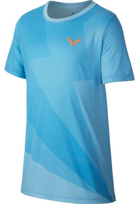 Теннисная футболка детская Nike Court Rafa GX Tee Boys blue gaze/total orange