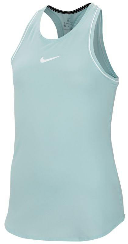 Теннисная майка детская Nike Court Girls Dry Tank teal tint/white/white/white