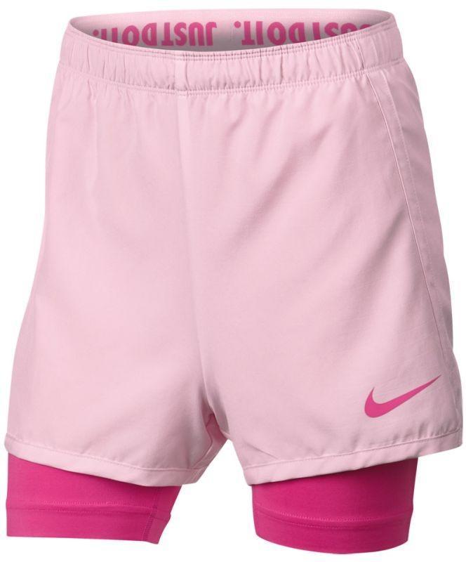 42a6943af88 Теннисные шорты детские Nike Dry 2in1 Short Girls pink foam laser fuchsia laser  fuchsia