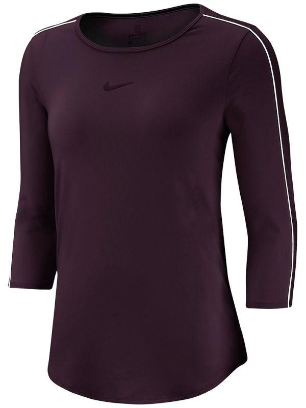 Теннисная футболка женская Nike Court Women 3/4 Sleeve Top burgundy ash/white/white/burgundy ash