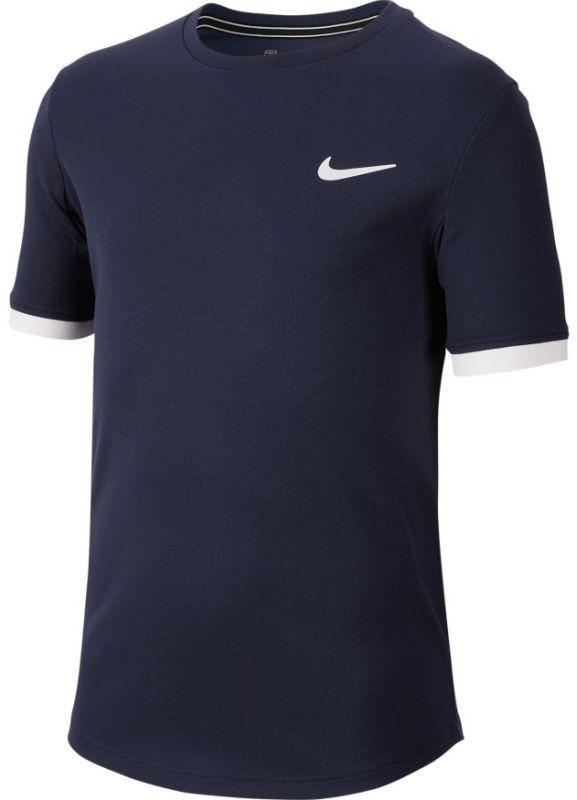 Теннисная футболка детская Nike Court Dry Top SS Boys obsidian/white/white