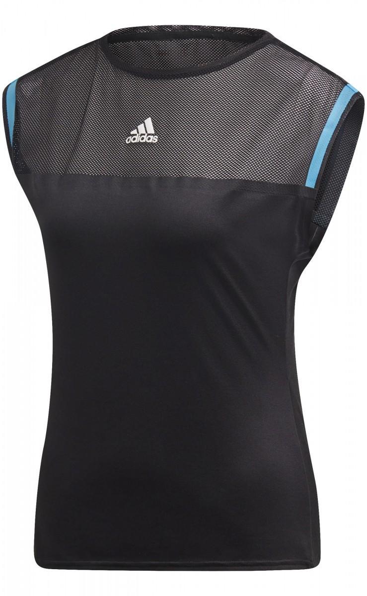 Теннисная футболка женская Adidas Escouade Tee black/shock cyan