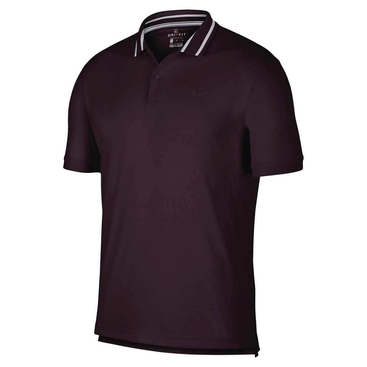 Теннисная футболка мужская Nike Court Dry Pique Polo burgundy ash