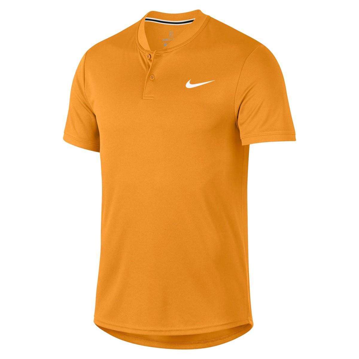 1f57a343 Теннисная футболка мужская Nike Court Dry Blade Polo canyon gold/white