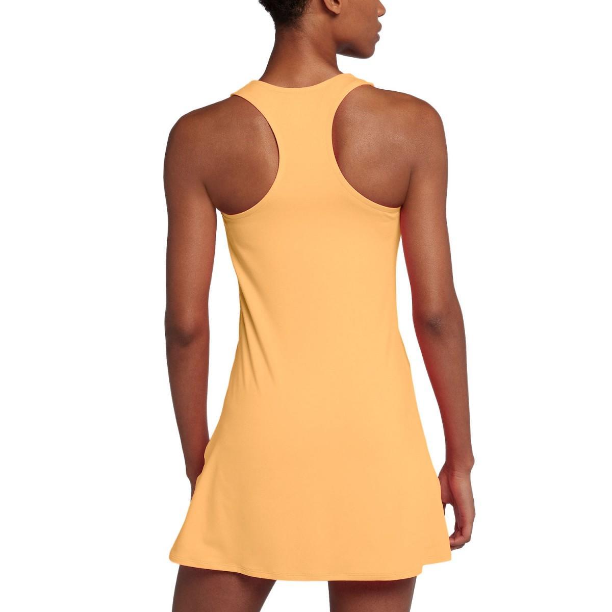 Теннисное платье женское Nike Court Pure Dress tangerine tint/white