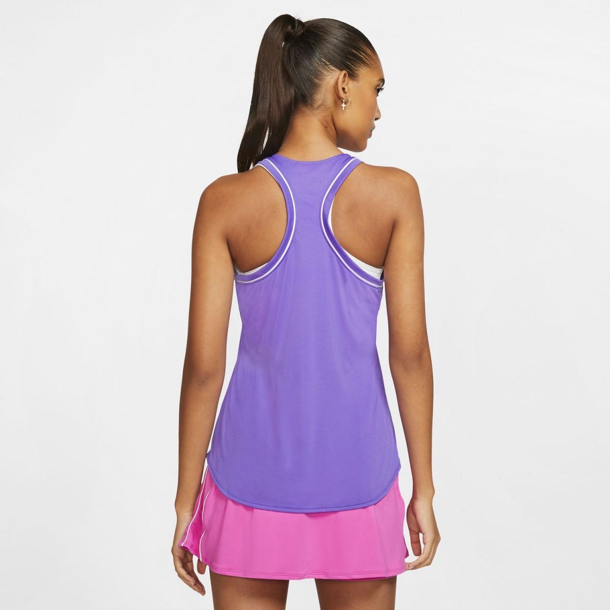 Теннисная майка женская Nike Court Dry Tank psychic purple/white/psychic purple