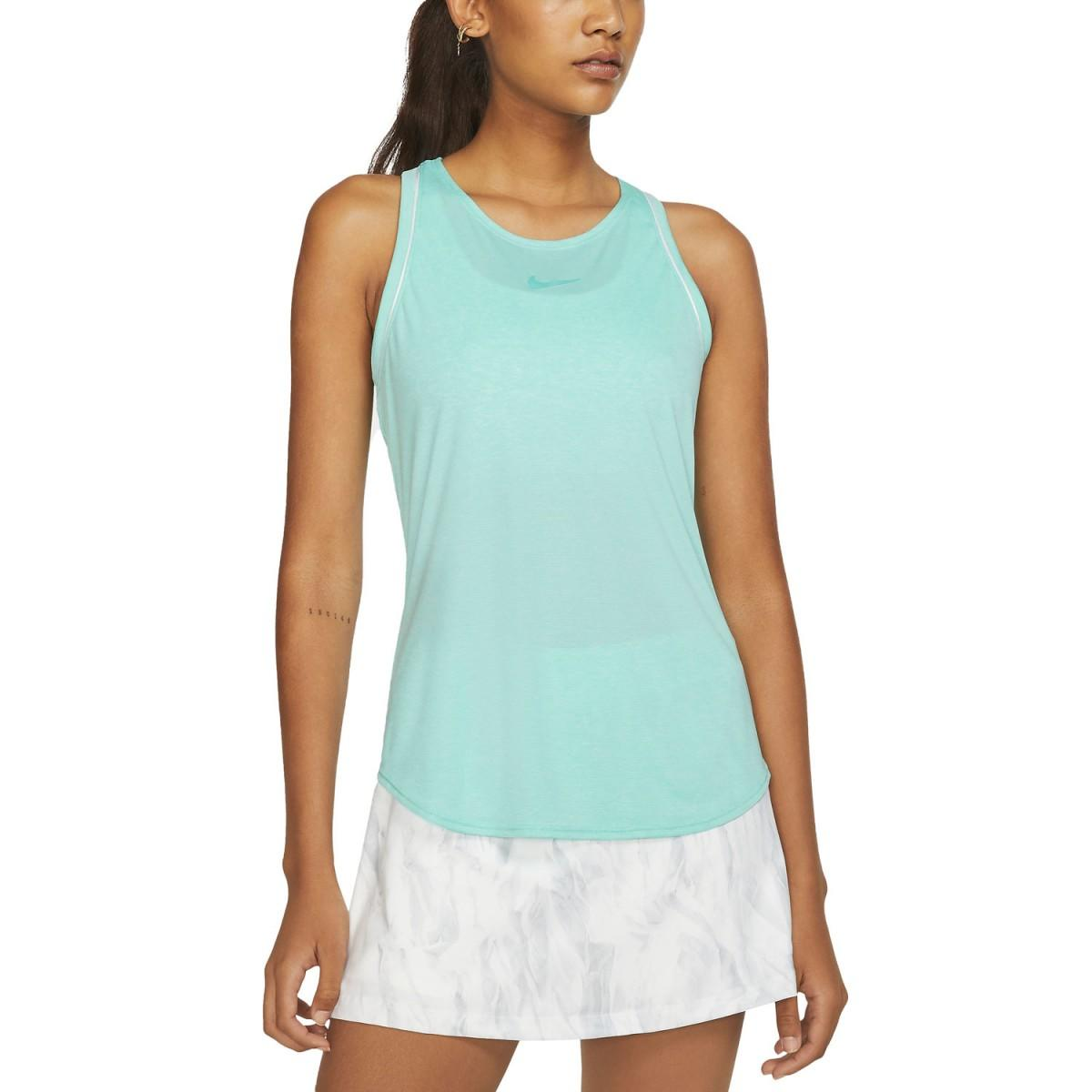 Теннисная майка женская Nike Court Dry Tank light aqua/white/white/light aqua