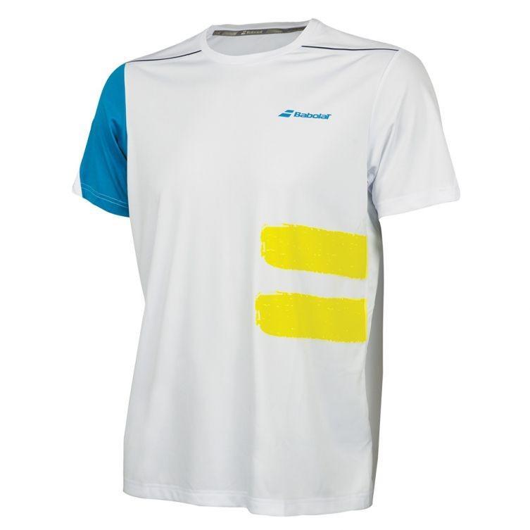 Теннисная футболка мужская Babolat Perf Crew Neck Tee Men white/mosaic blue