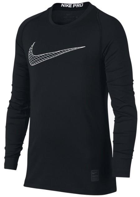 Теннисная футболка детская Nike Pro Fitted LS black