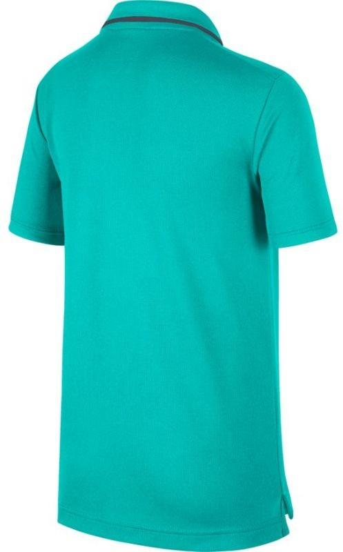 Теннисная футболка детская Nike Court B Dry Polo Team hyper jade/gridiron/gridiron поло
