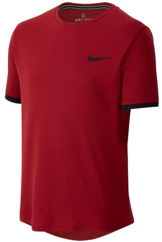 Теннисная футболка детская Nike Court Dry Top SS Boys team crimson/black/black