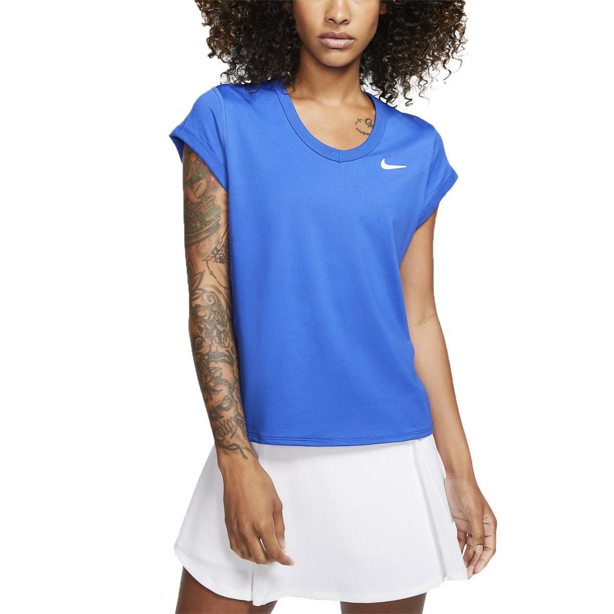 Теннисная футболка женская Nike Court Top game royal/white