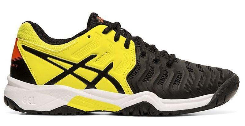 Детские теннисные кроссовки Asics Gel-Resolution 7 GS black/sour yuzu