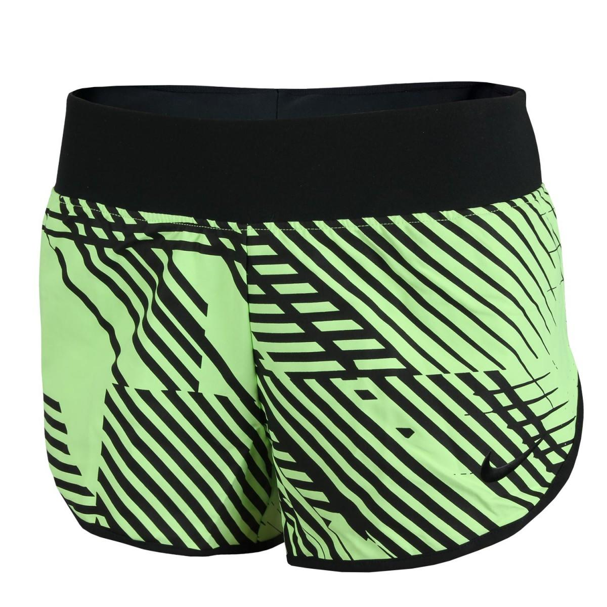 Теннисные шорты женские Nike Ace Premier Printed Shorts fluo green/black