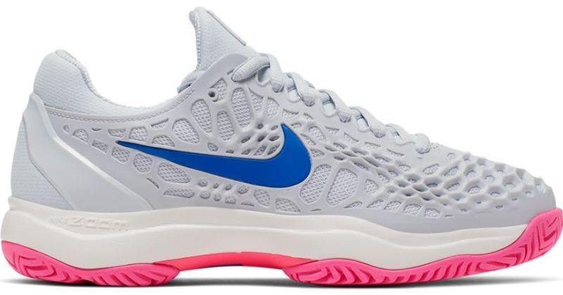 Теннисные кроссовки женские Nike WMNS Air Zoom Cage 3 HC pure platinum/racer blue