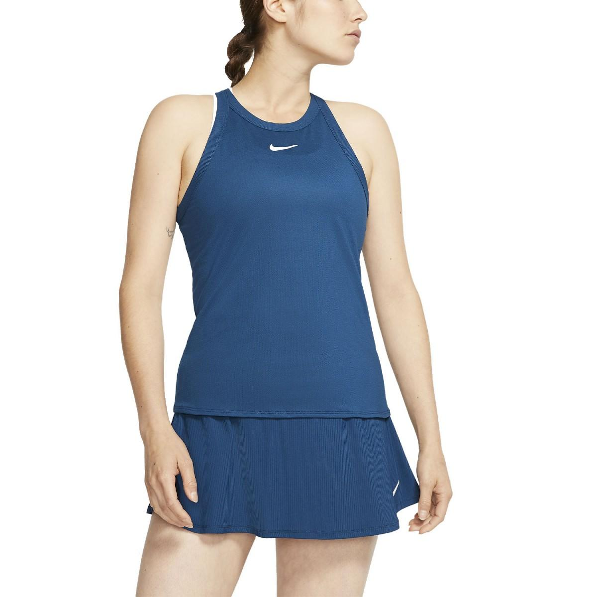 Теннисная майка женская Nike Court Dry Tank valerian blue/white
