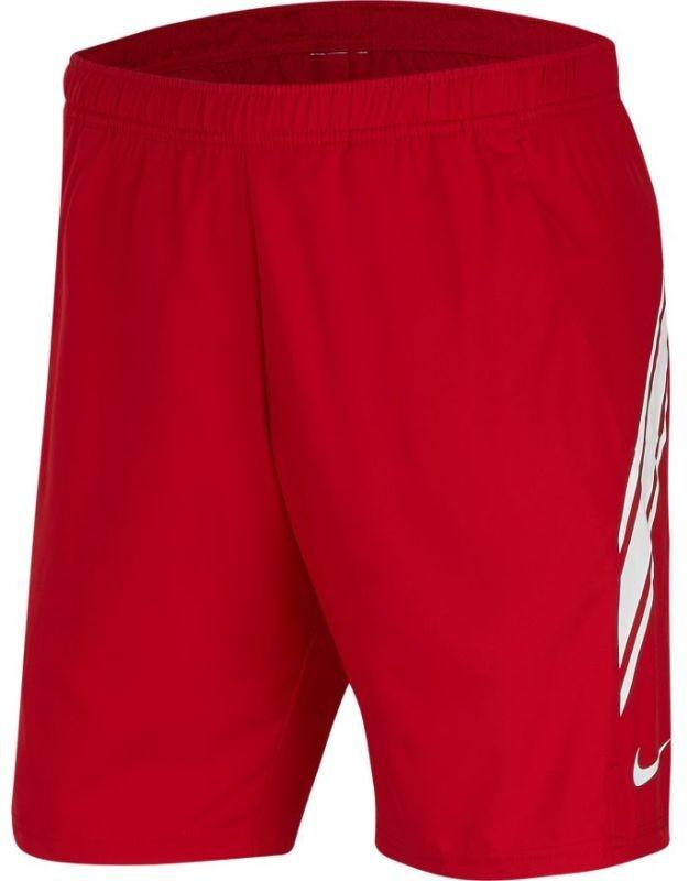 Теннисные шорты мужские Nike Court Dry 9in Short gym red/white/gym red/white
