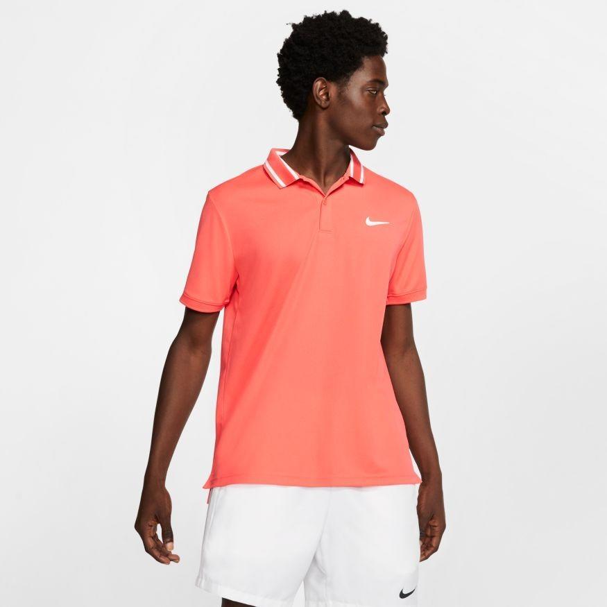 Теннисная футболка мужская Nike Court Dry Pique Polo ember glow/white/white