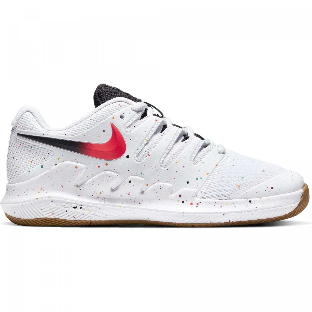 Детские теннисные кроссовки Nike Air Zoom Vapor 10 HC Jr white/laser crimson
