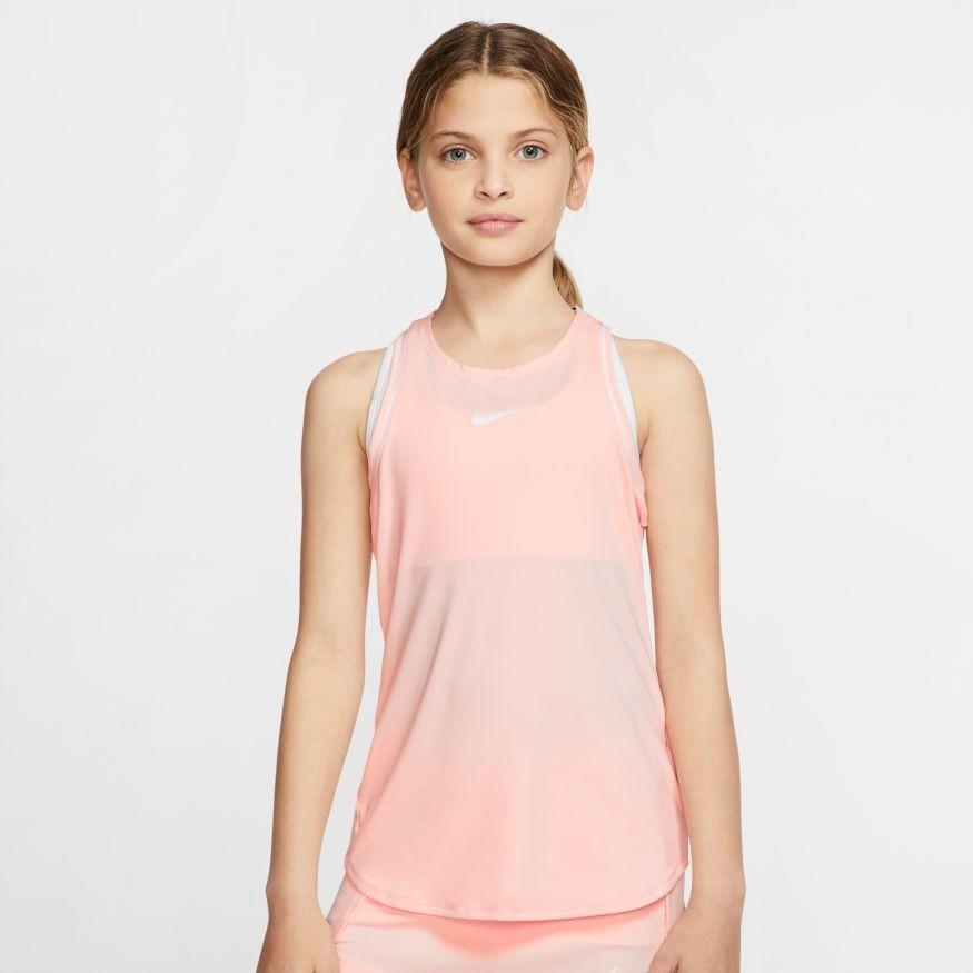 Теннисная майка детская Nike Court Girls Dry Tank washed coral/white/white/white
