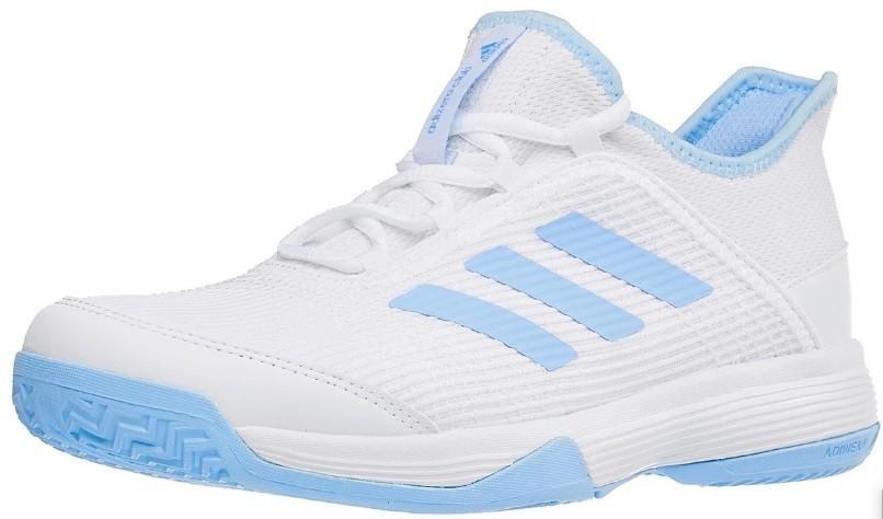 Детские теннисные кроссовки adidas Adizero Club Junior white/glow blue