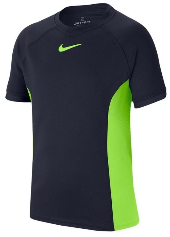 Теннисная футболка детская Nike Court Dry T-Shirt Boy obsidian/ghost green