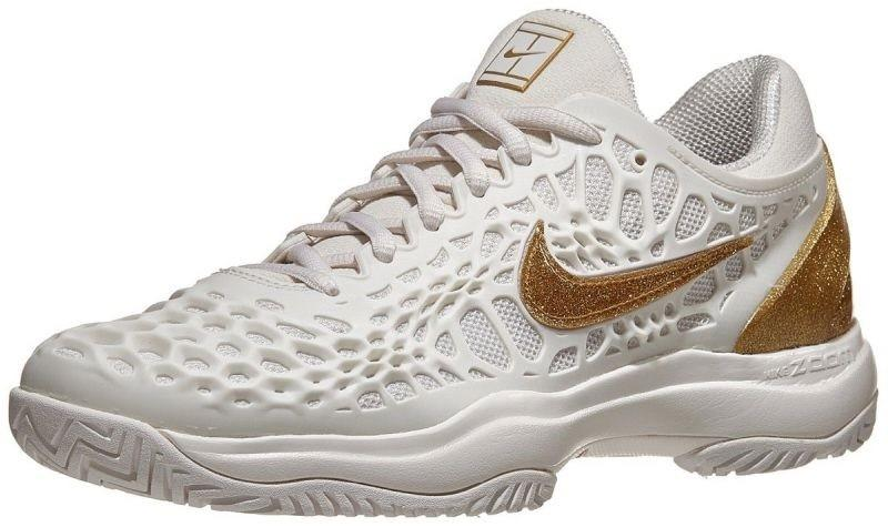 Теннисные кроссовки женские Nike WMNS Air Zoom Cage 3 HC phantom/metallic gold