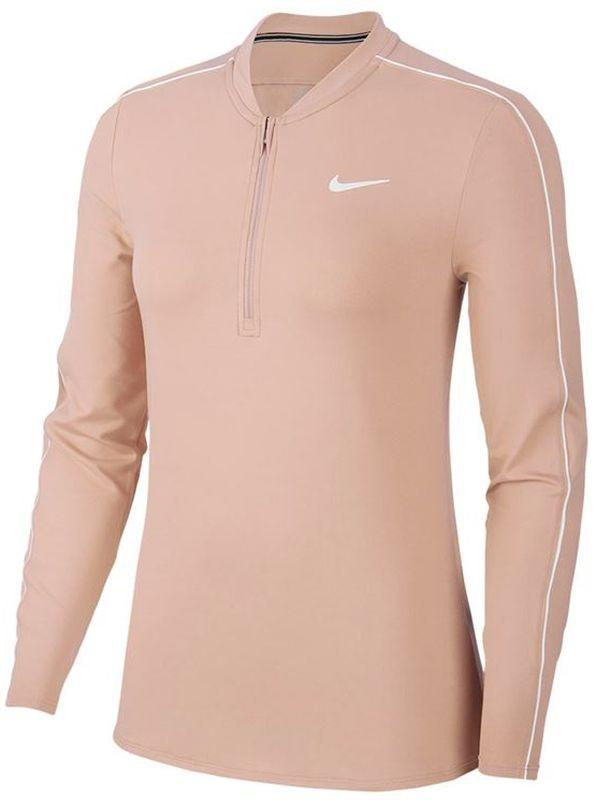 Теннисная футболка женская Nike Court Women Dry 1/2 Zip Top washed coral/white/white/white