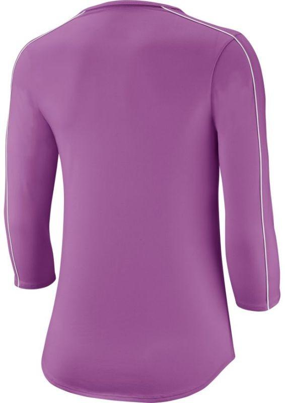Теннисная футболка женская Nike Court Women 3/4 Sleeve Top purple nebula/white/white/white