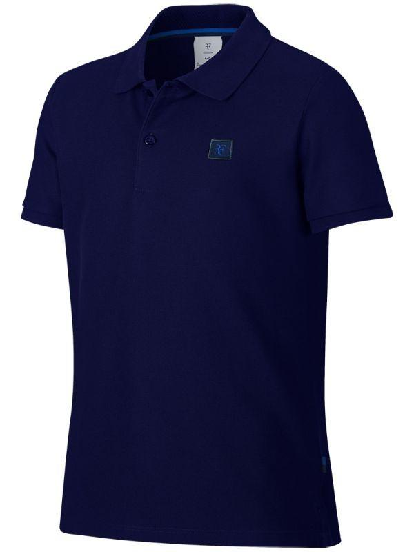 Теннисная футболка детская Nike Boys RF Essential Polo blue void