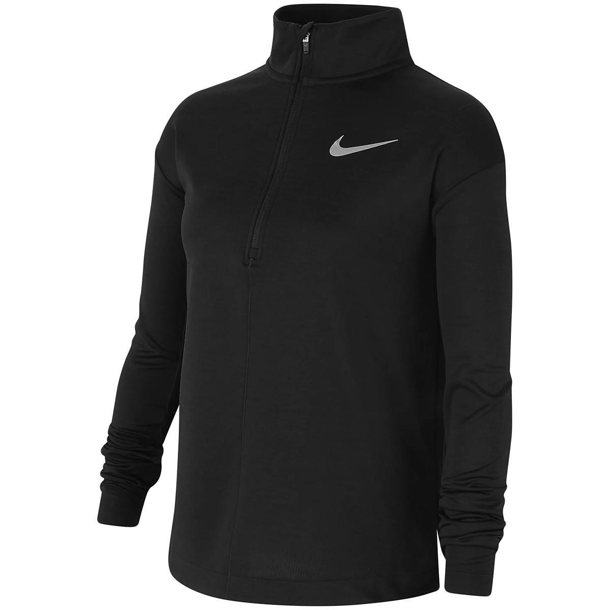 Теннисная футболка детская Nike Girls Long Sleeve Half Zip Running Top black