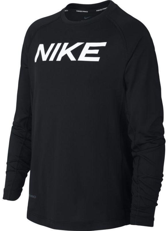 Теннисная футболка детская Nike Pro LS FTTD Top B black/white