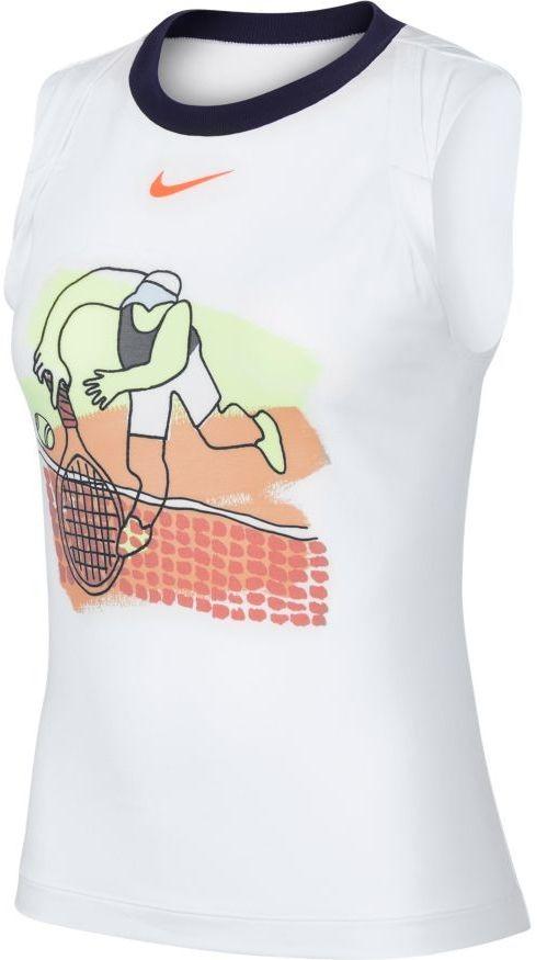 Теннисная майка женская Nike Court Dry Tank PS NT white/black/laser crimson