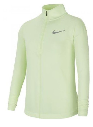 Теннисная футболка детская Nike Girls Long Sleeve Half Zip Running Top volt