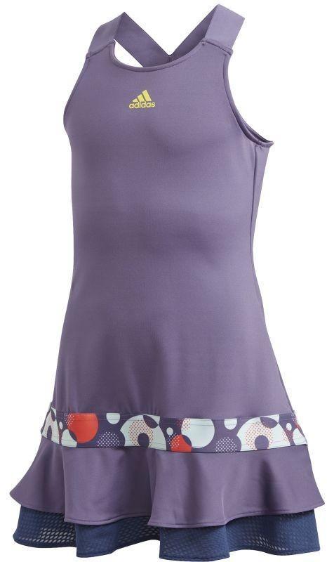 Теннисное платье детское Adidas G Frill Dress tech purple/shock yellow