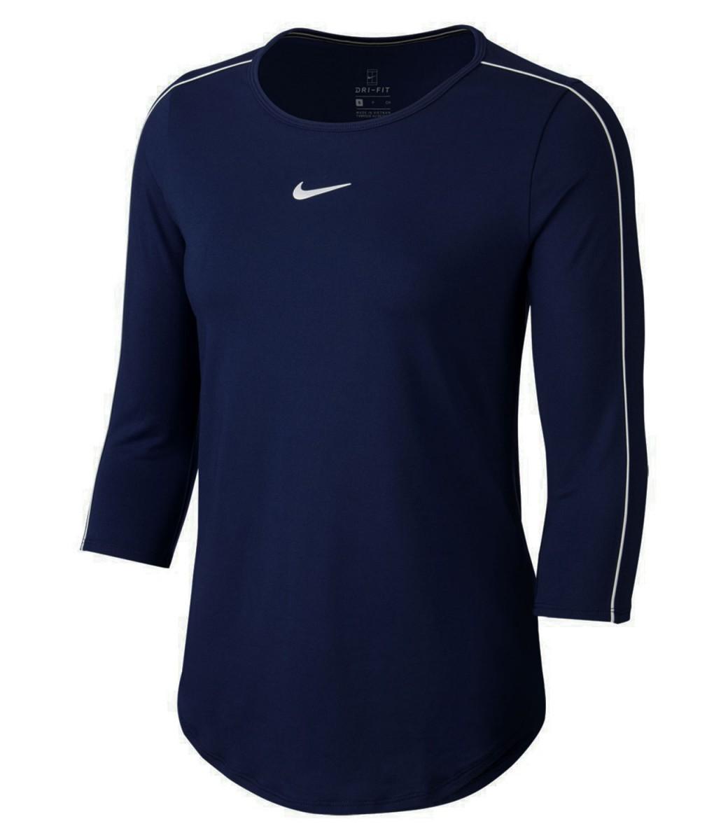 Теннисная футболка женская Nike Court Women 3/4 Sleeve Top obsidian/white