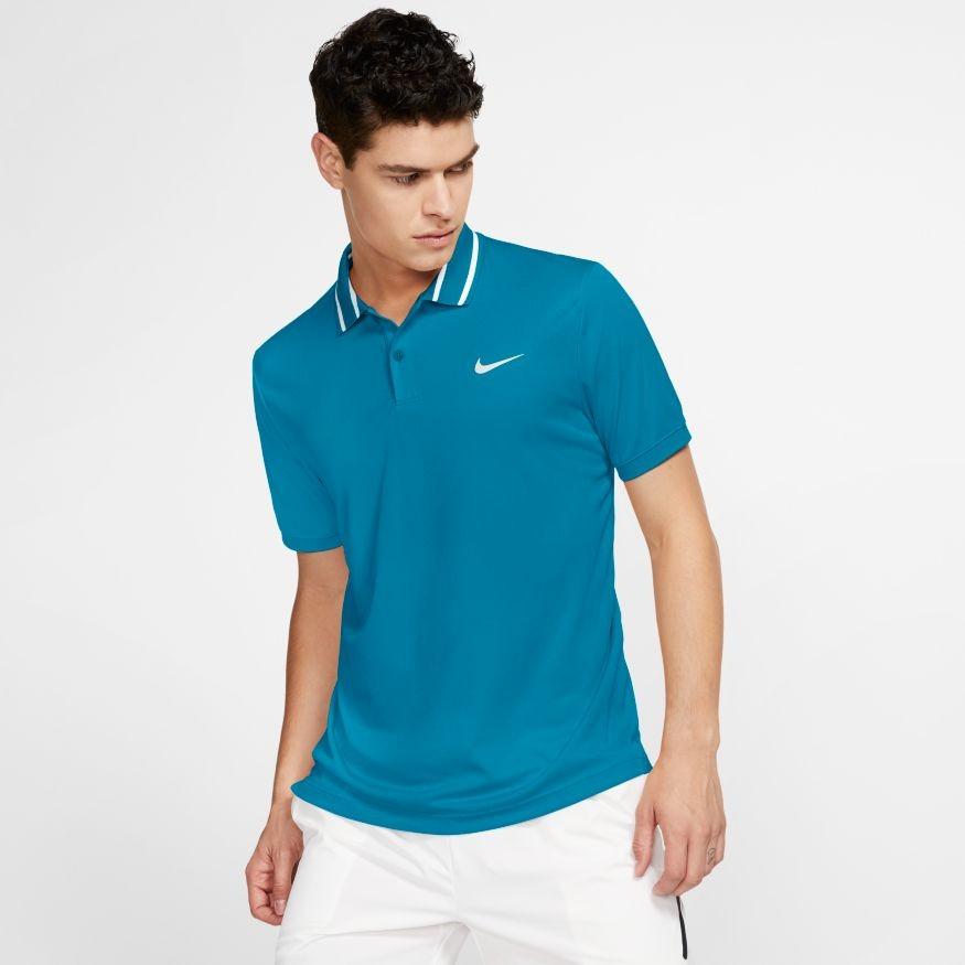 Теннисная футболка мужская Nike Court Dry Pique Polo neo turq/white/white