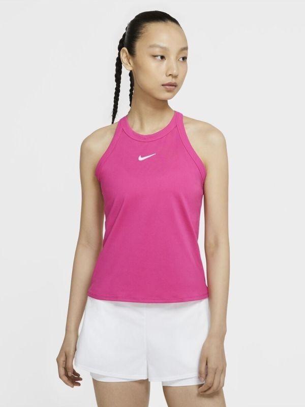 Теннисная майка женская Nike Court Dry Tank vivid pink/white