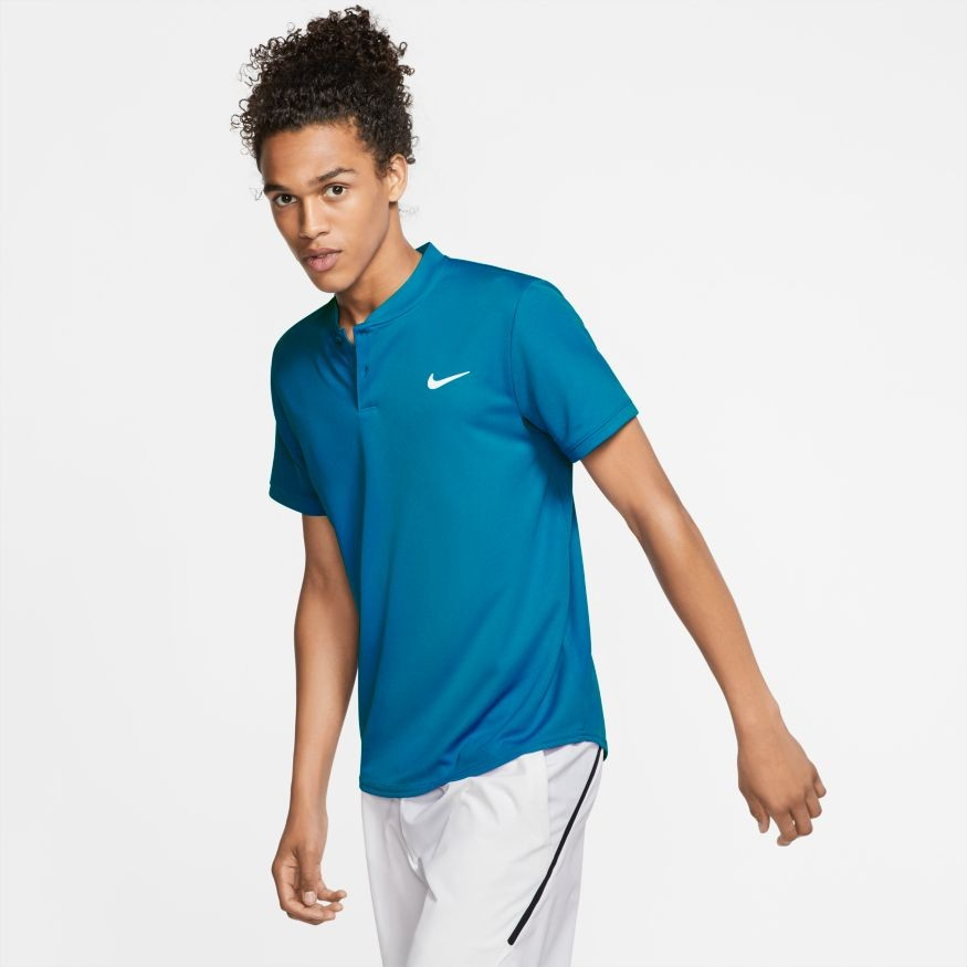 Теннисная футболка мужская Nike Court Dry Blade Polo neo turq/white