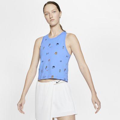 Теннисная майка женская Nike Court Tank Crop Court royal pulse