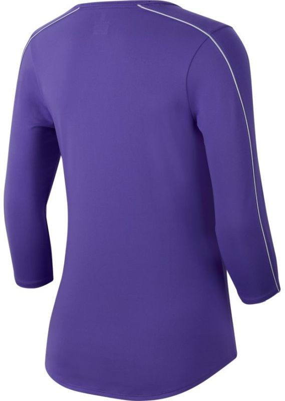 Теннисная футболка женская Nike Court Women 3-4 Sleeve Top psychic purple/white/psychic purple